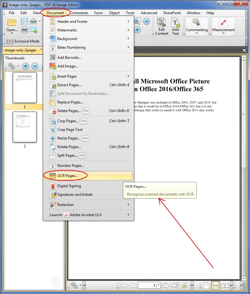 How to OCR pages in a PDF with free software - PDF-XChange