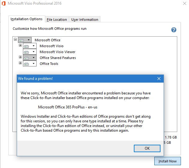 how to coexisting visio pro 2016 volume license and office