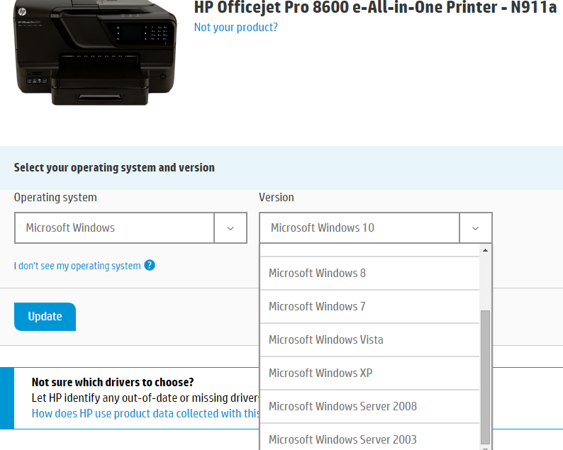Hp officejet pro 8600 premium e-all-in-one printer series n911.