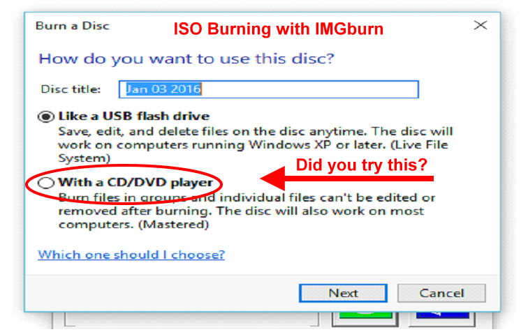 Cannot burn iso files under Windows 10