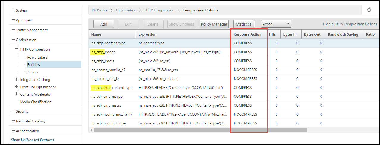 Citrix NetScaler HTTP Compression Feature