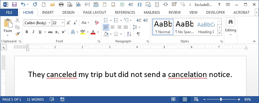 How to tell Microsoft Office that a word is NOT spelled