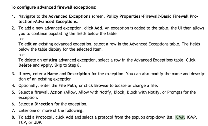 Advanced Firewall Exception - VIPRE