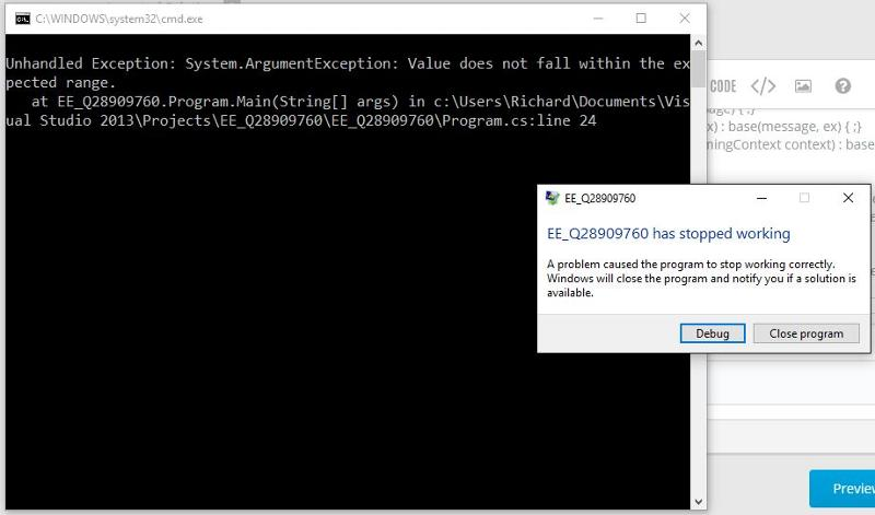 This is what happens on my system when an unhandled exception is encountered.