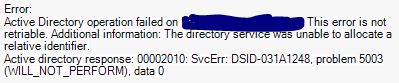 This is the error I get within the EMC when I try to create a new room resource.