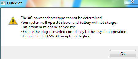 DELL Inspiron 7110n- [The AC power adapter type cannot be determined