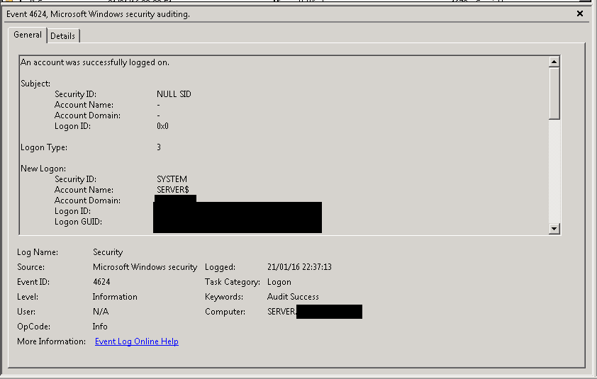 SOLUTION] Server 2008 event viewer security log