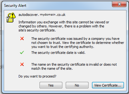 Outlook Ssl Certificate Error