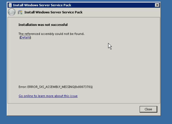 SOLUTION] Not able install Service Pack 1 on Windows 2008 R2 Server
