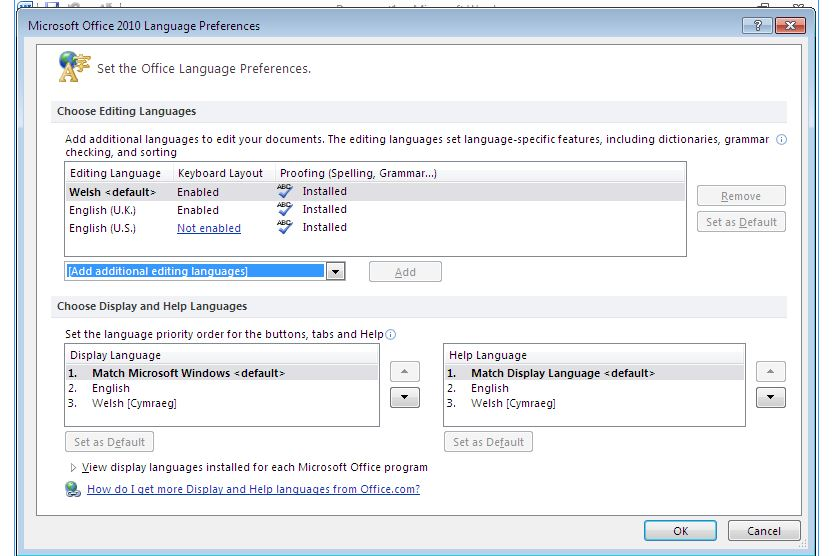 Changing default Editing Language in Office 2010 does not
