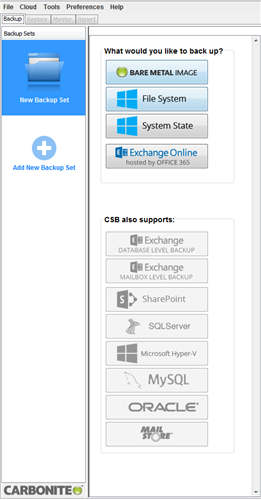 Backup set options