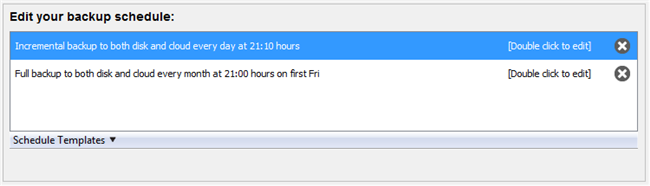 Edit Backup Schedule