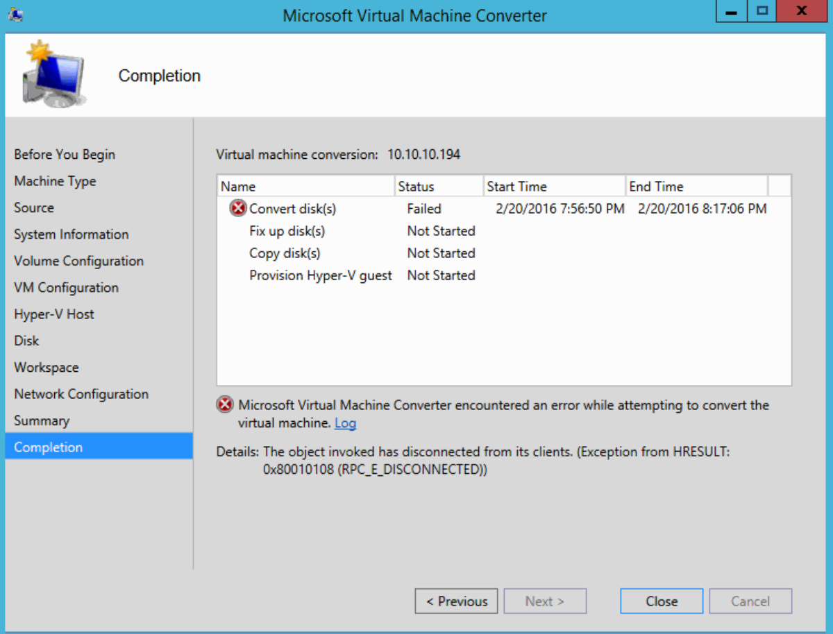 P2V of Windows 7 using Microsoft Virtual Machine Converter