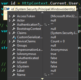 HttpContext not identifying the current user in Visual Studio