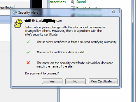 Exchange 2016 New Install - Name on Security Certificate Invalid on ...