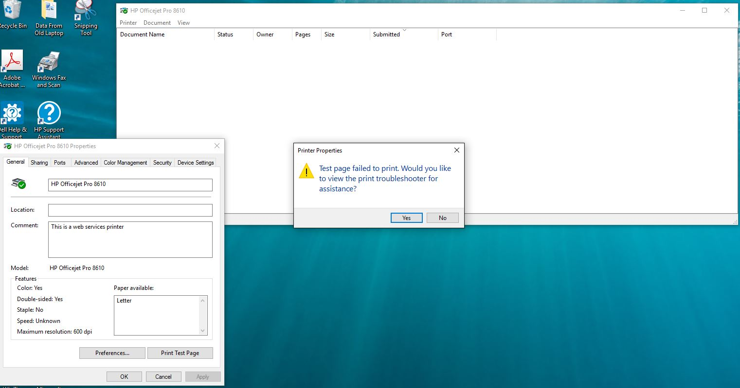 Windows 10 Printing Issue from HP Officejet 8610 & 8620 Printers