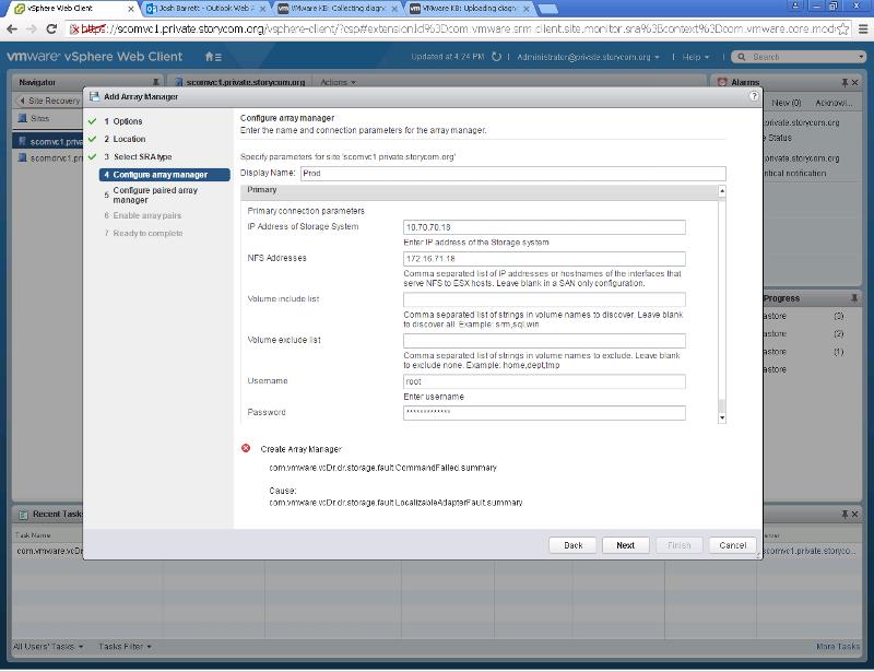 Screenshot of SRM error