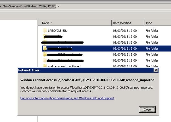 shadow copy access error