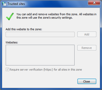 Trusted Zone add sites window