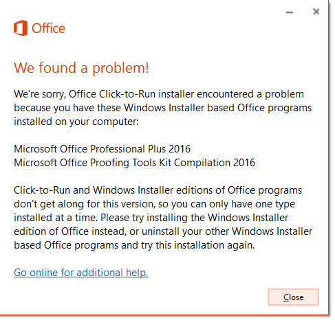 error when installing visio 2016 with office 2016 - My Visio
