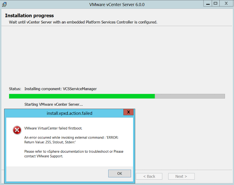vCenter 6.0 Installation Error