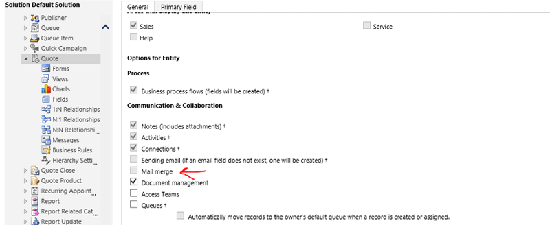 Mail Merge option grayed out under system customization.