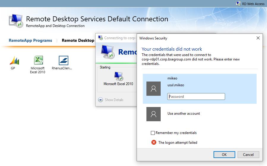 SOLUTION] RemoteApp Published App won't accept credentials