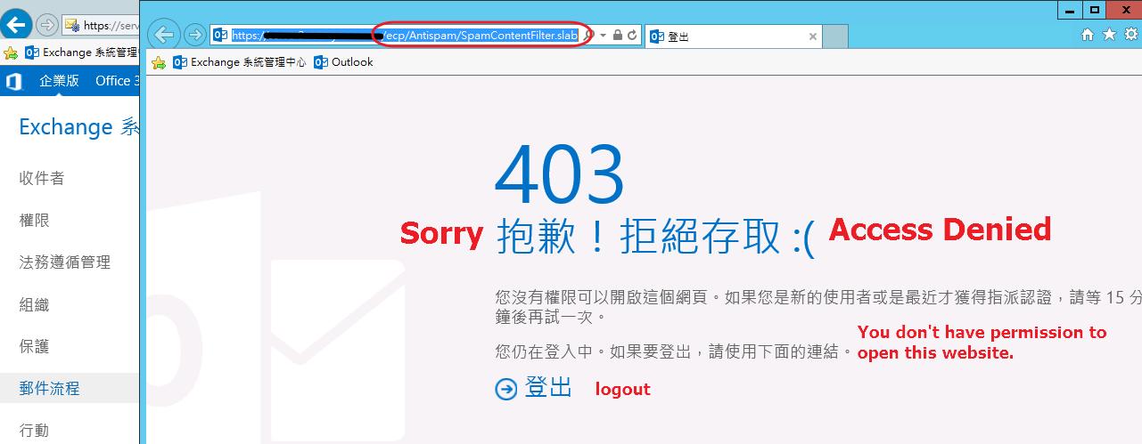 Exchange 2016 ECP Antispam - 403 Access Denied ?