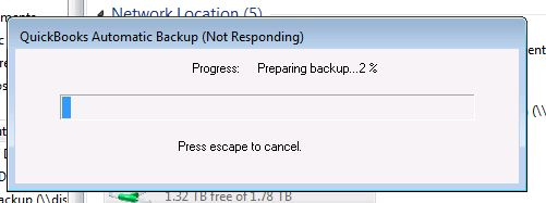 Quickbooks backup to NAS drive problem