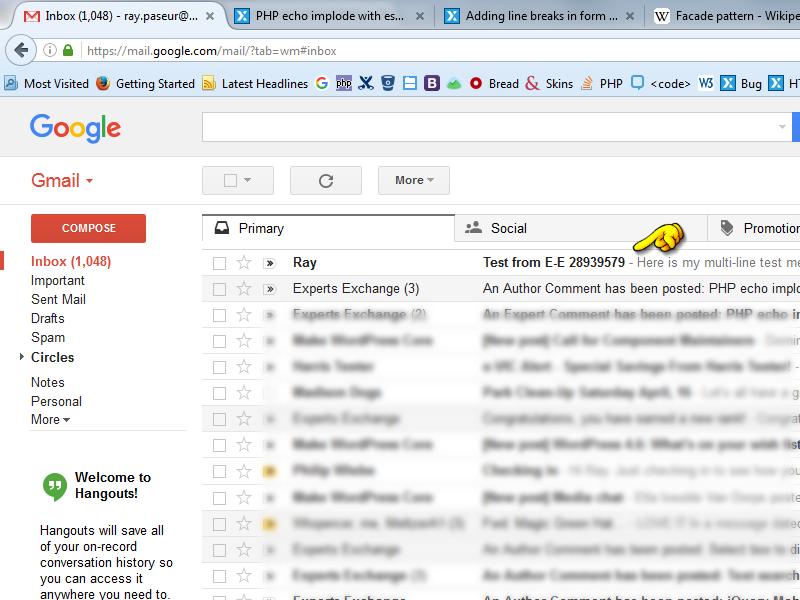 Inbox shows message arrived