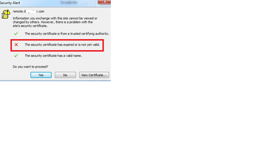 The security certificate has expired or is not yet valid