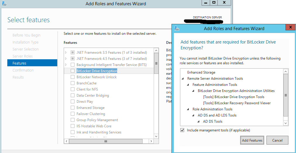 The Bitlocker recovery tab is missing WS2012R2