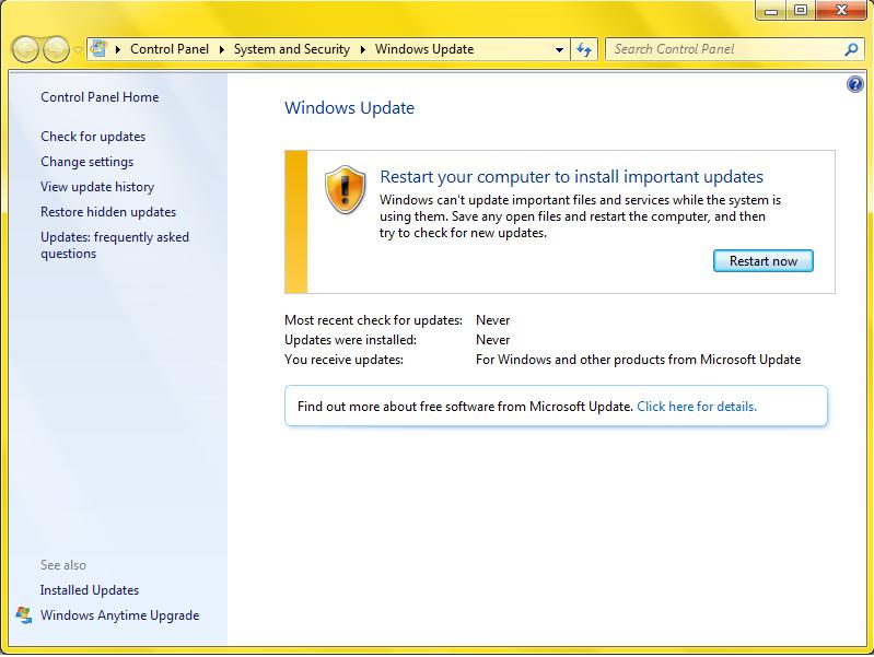 Windows Update keeps asking to restart the computer when