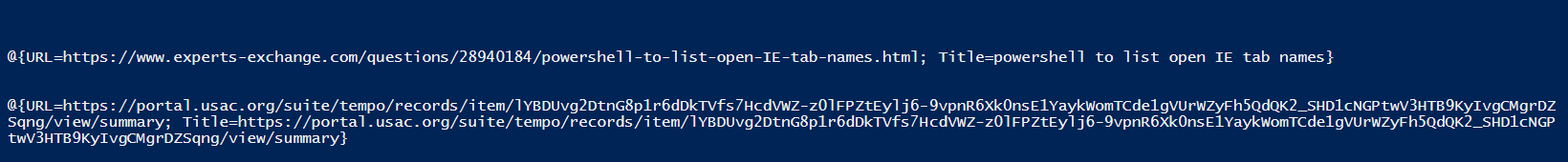powershell to list open IE tab names