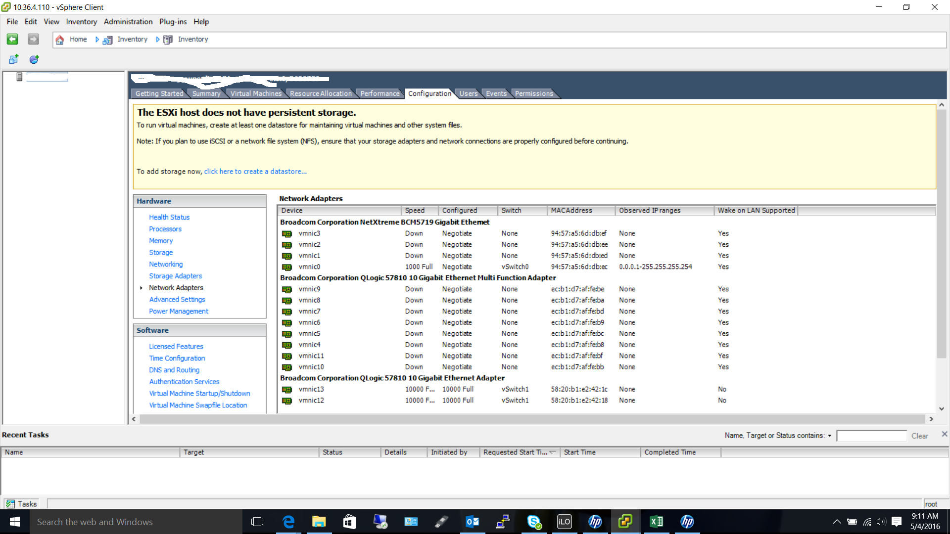 Issuie with NPAR and ESXi 6 with HP servers running 10GB fiber
