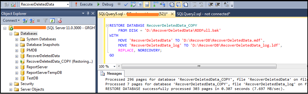 How to recover deleted rows in SQL Server