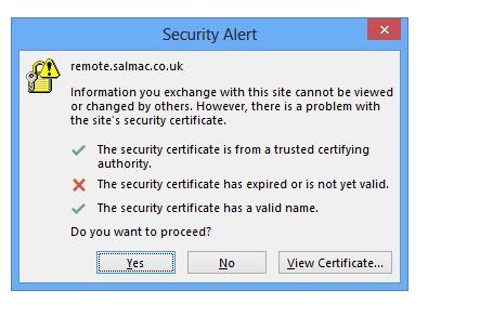 Office 365 outlook certificate error