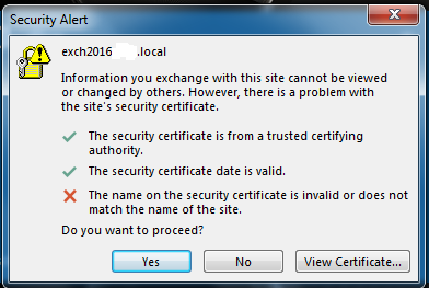 certificate errors in local outlook 2016 startup