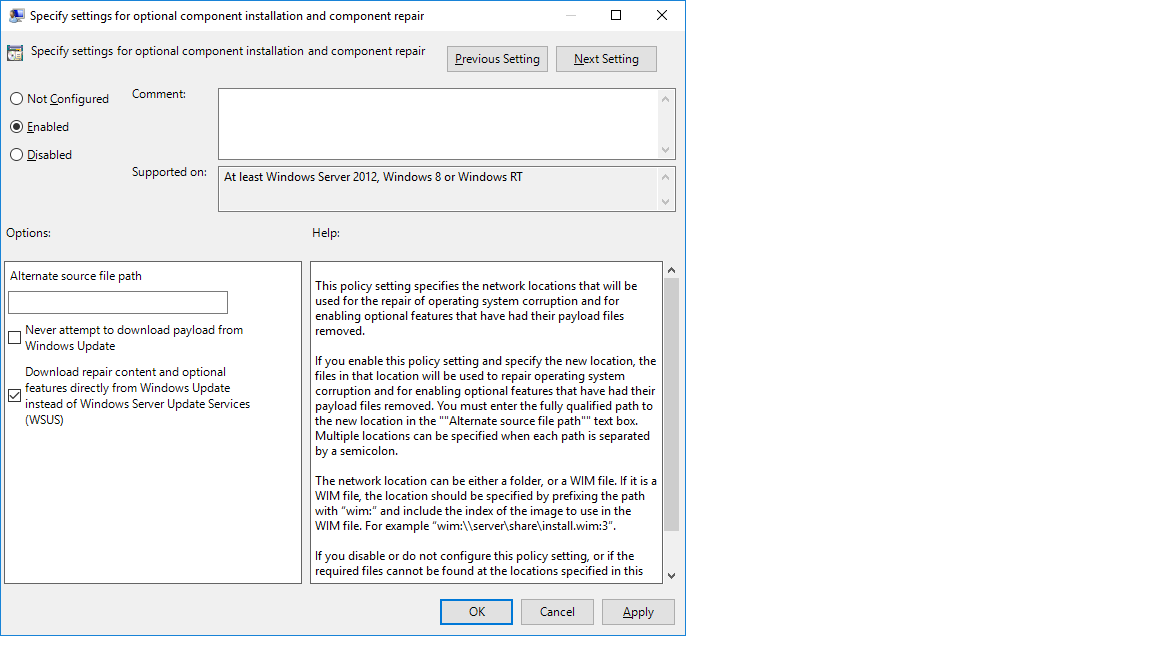installig framework 3 5 role does not work on wsus client