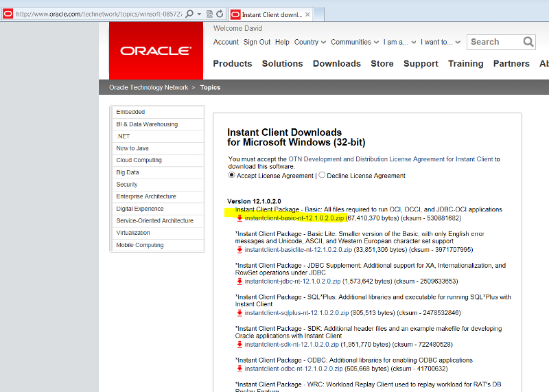 Oracle Client Package installation, how?