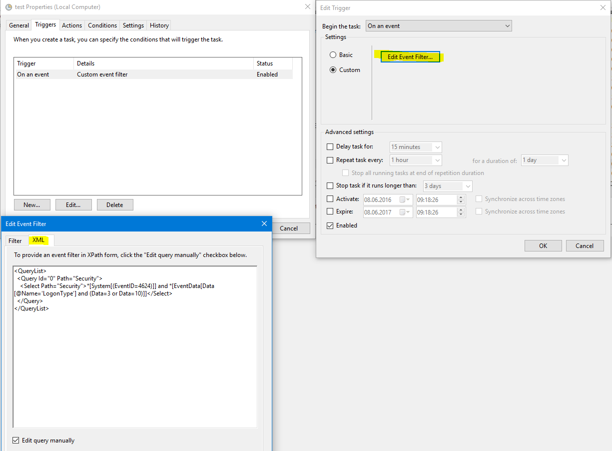 Task Scheduler Task from Logon Event 4624