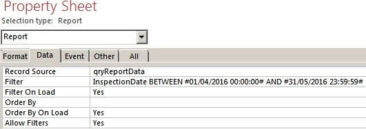 MS Access Report - How Do I Filter With a Date Range Using VBA?