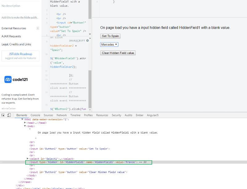 retain input hidden value after page reload