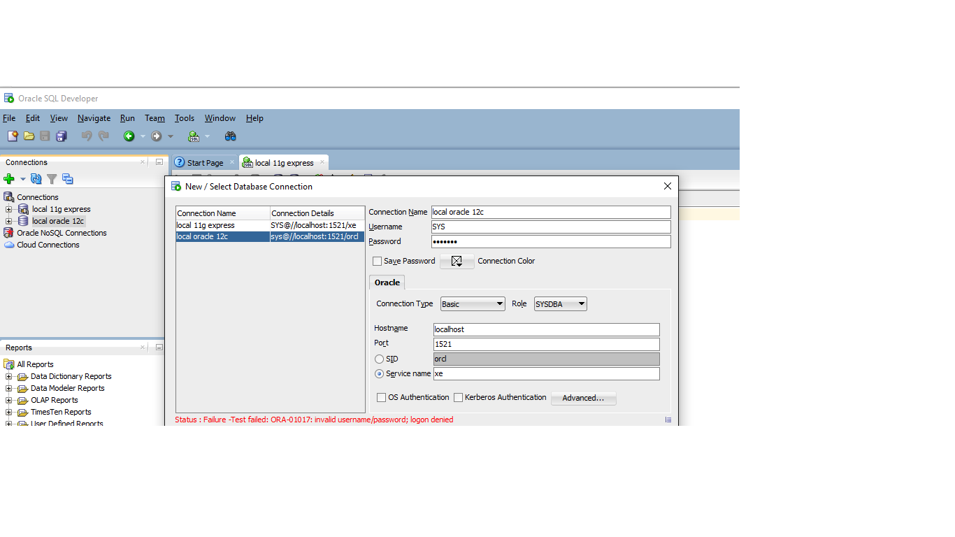 connecting to oracle database