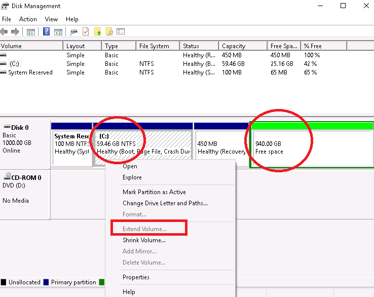 Can't extend existing partition in Windows 10