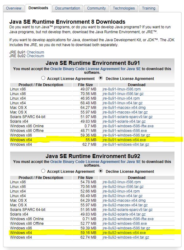 Java SE Runtime Environment 8 Downloads