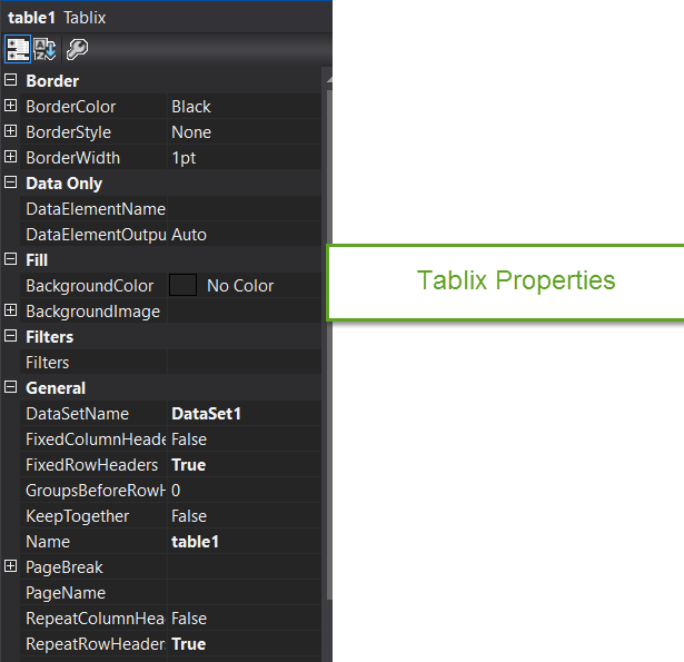 Tablix properties