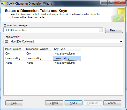 How to use Slowly Changing Dimension Transformation in SSIS