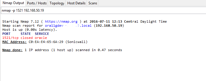 NMAP shows service 1521 is closed