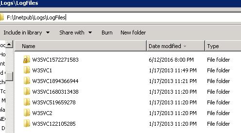Inetpub folder in F drive